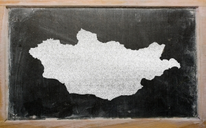 outline map of mongolia on blackboard