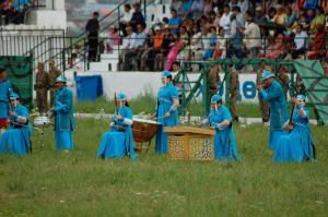 Selenge Naadam Opening Ceremony: Musicians playing traditional horsehead fiddles