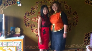 My khasha sister, Bolooroo, and me in our Naadam outfits
