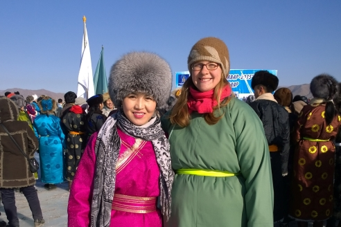 Dashka and April at the Bayankhongor Ice Festival, January 2015