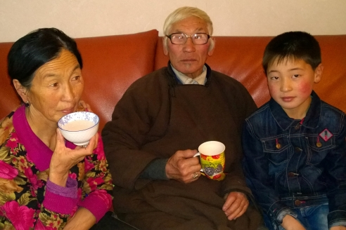 Dashka's parents with their grandson Muugii (December, 2014)