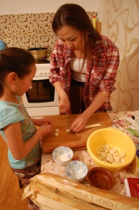 Dashka and Anu making bansh (small dumplings)